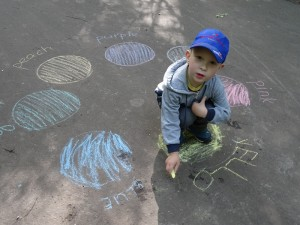 Color recognition and literacy games with chalk