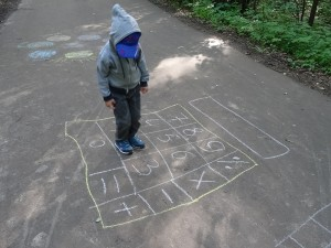 Math games with chalk